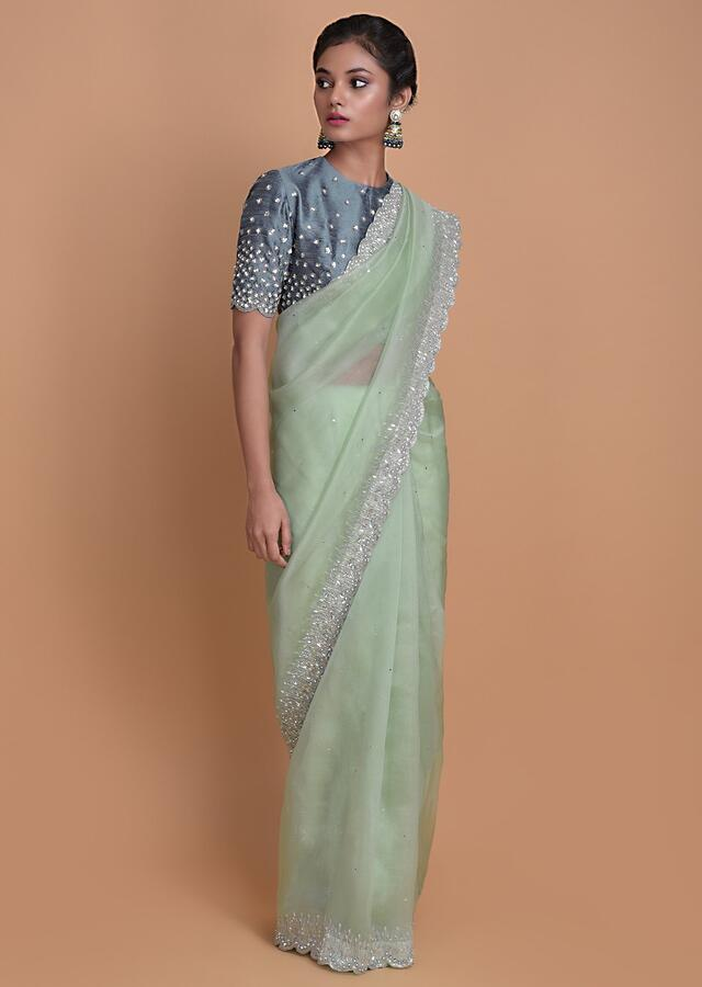 Mint Green Saree In Organza With Embellished Scallop Cut Border Online - Kalki Fashion