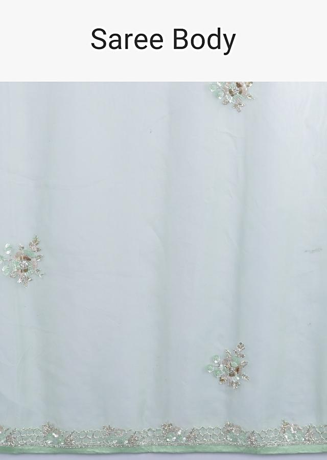 Mint Green Saree In Organza With Sequins, Beads And Gotta Patches In Floral Motifs Online - Kalki Fashion