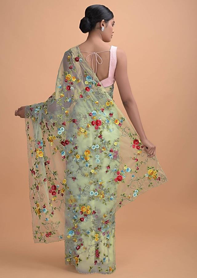 Mint Green Saree In Organza With Thread Embroidery In Floral Pattern Online - Kalki Online