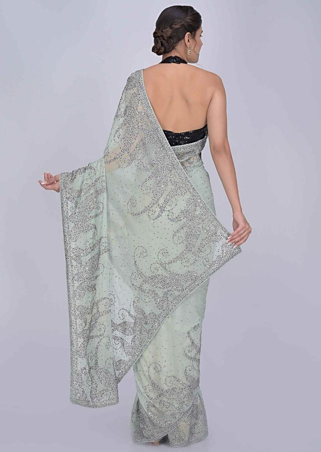Mint Green Saree In Shimmer Georgette With Gun Metal Embroidery Work Online - Kalki Fashion