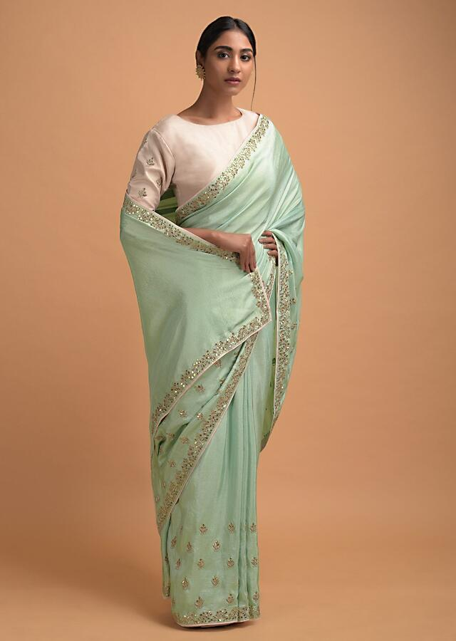 Mint Green Saree In Silk With Gotta Patch Embroidered Buttis And Border Online - Kalki Fashion
