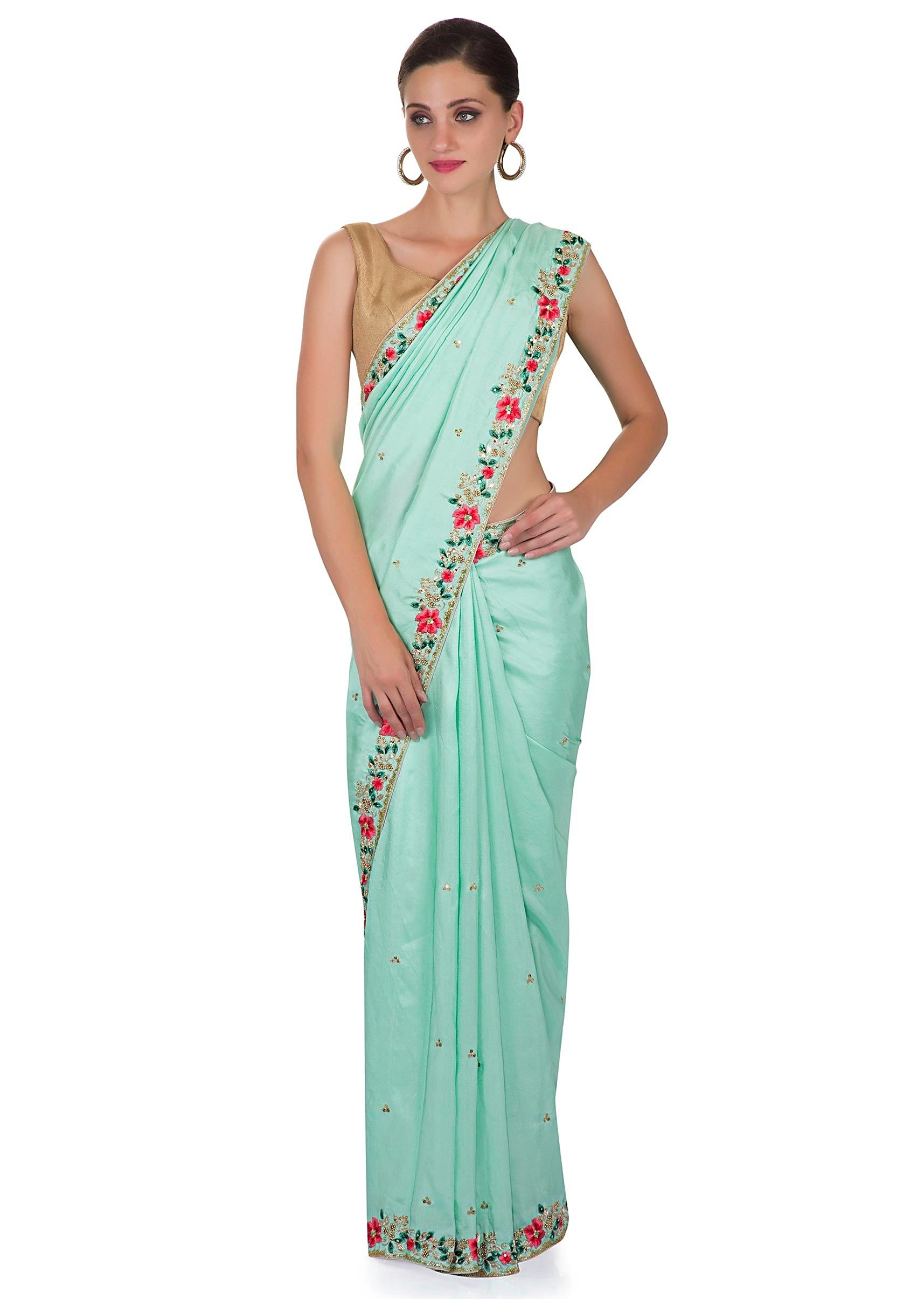 b1c024da9f4ef Mint Green Satin Saree with Unstitched Pink Raw Silk Blouse Featuring  Resham and Zardosi only on