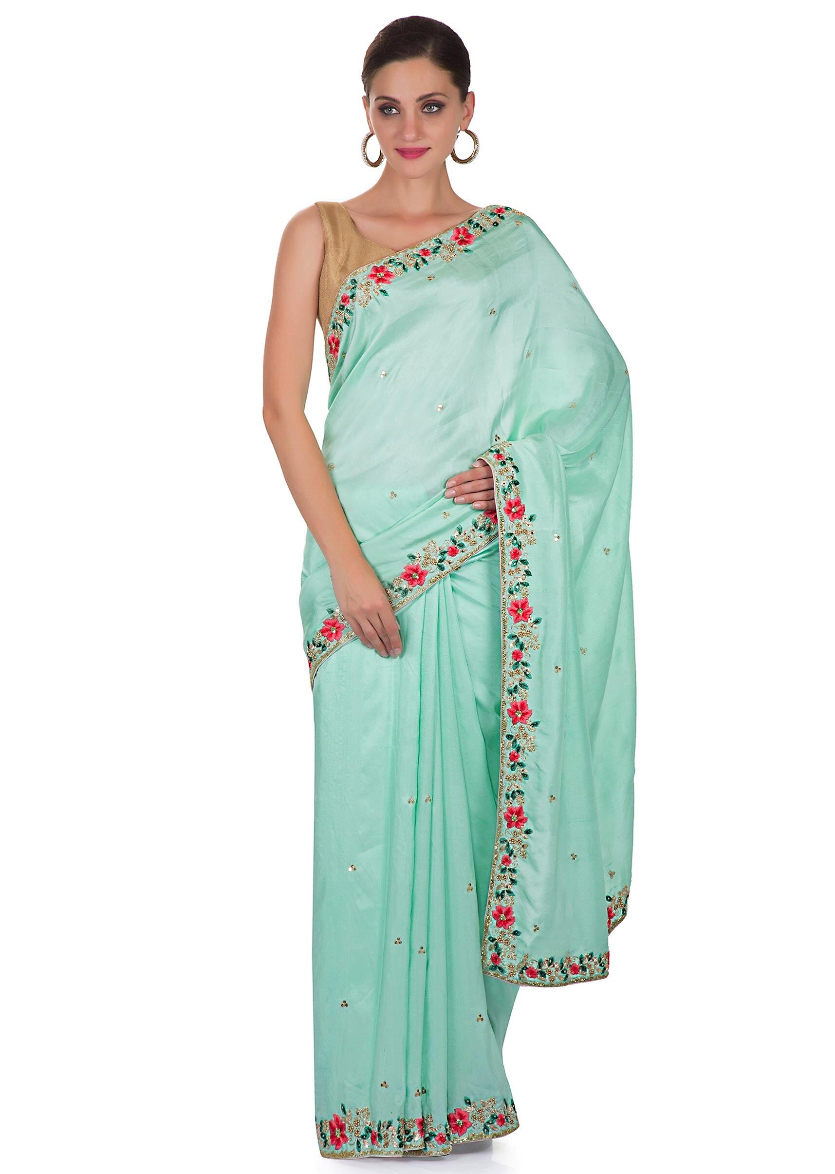 64dc33b8e99a9 Mint Green Satin Saree with Unstitched Pink Raw Silk Blouse Featuring  Resham and Zardosi only on KalkiMore Detail