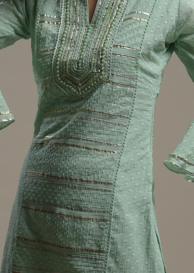 Mint Green Sharara Suit In Cotton With Woven Geometric Motifs, Bell Sleeves And Gotta Embroidery Online - Kalki Fashion