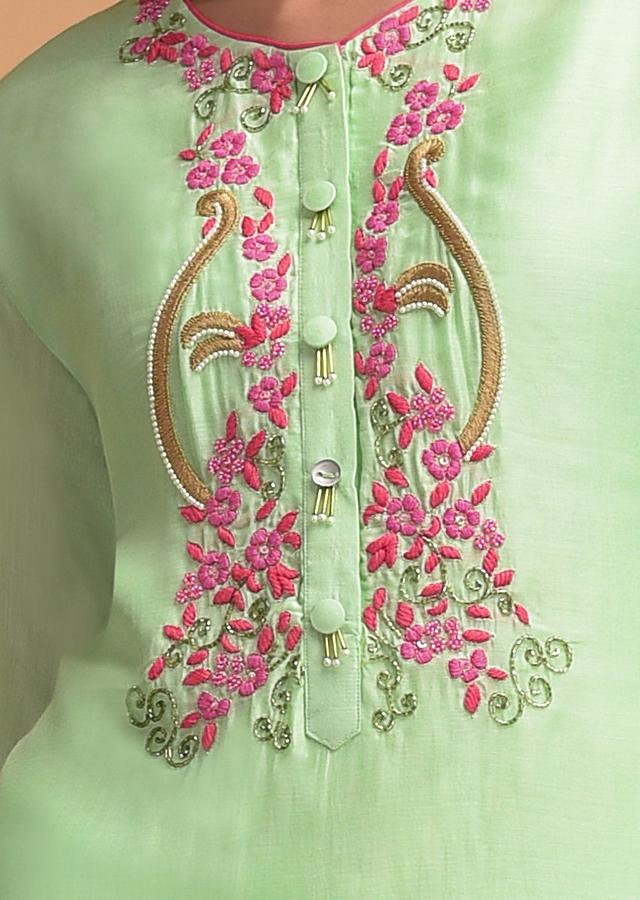 Mint Green Sharara Suit In Tiered Pattern And Floral Embroidery Online - Kalki Fashion