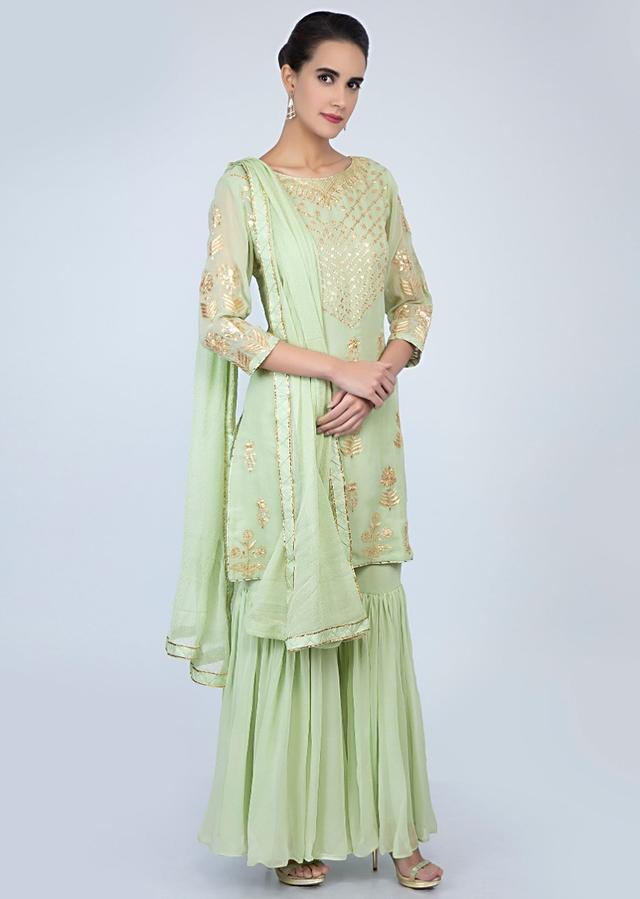 Mint Green Sharara Suit Set In Zari Embroidery And Butti Online - Kalki Fashion