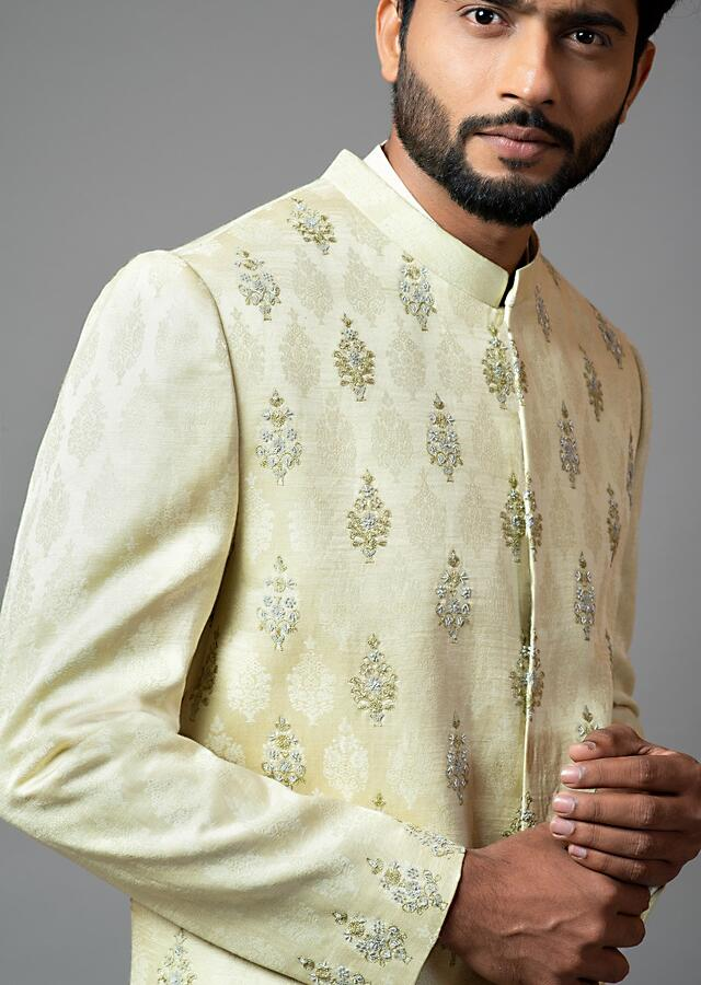 Mint Green Sherwani Set With Self Textured Butti Embroidery Using Thread And Sequins By Smriti Apparels
