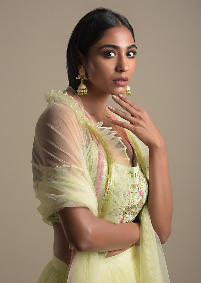 Mint Green Skirt And Crop Top With Floral Embroidery Work Online - Kalki Fashion