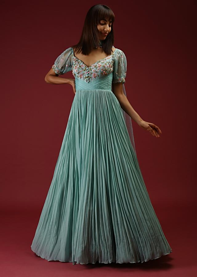 Mint Anarkali Gown Featuring Pleats And Multi Colored Hand Embroidery On The Bodice And Short Puffed Sleeves Online - Kalki Fashion