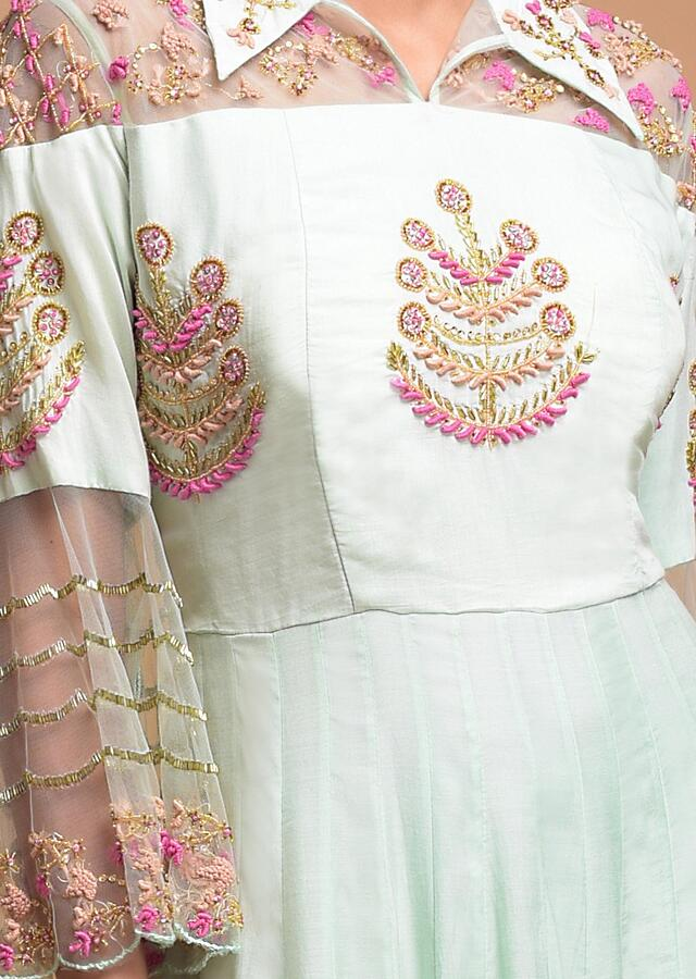 Mint Indowestern Gown In Cotton With Collar Neckline And Floral Embroidery Online - Kalki Fashion