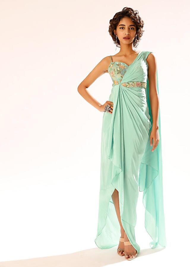 Mint Long Dress In Crepe With Pleated Drape And Sequins Embellished Summertime Blossoms Online - Kalki Fashion