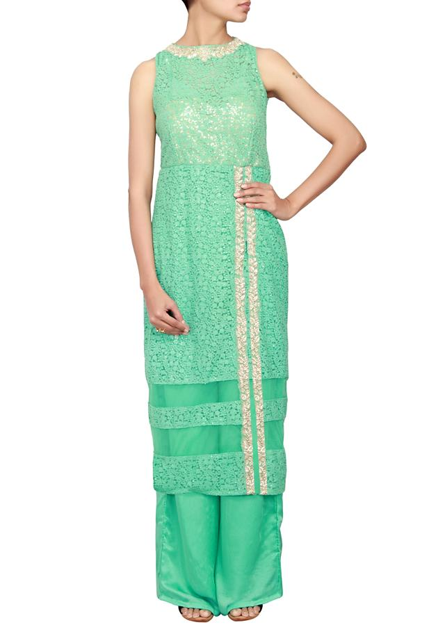 Mint net a-line suit embellished in resham and zardosi only on Kalki