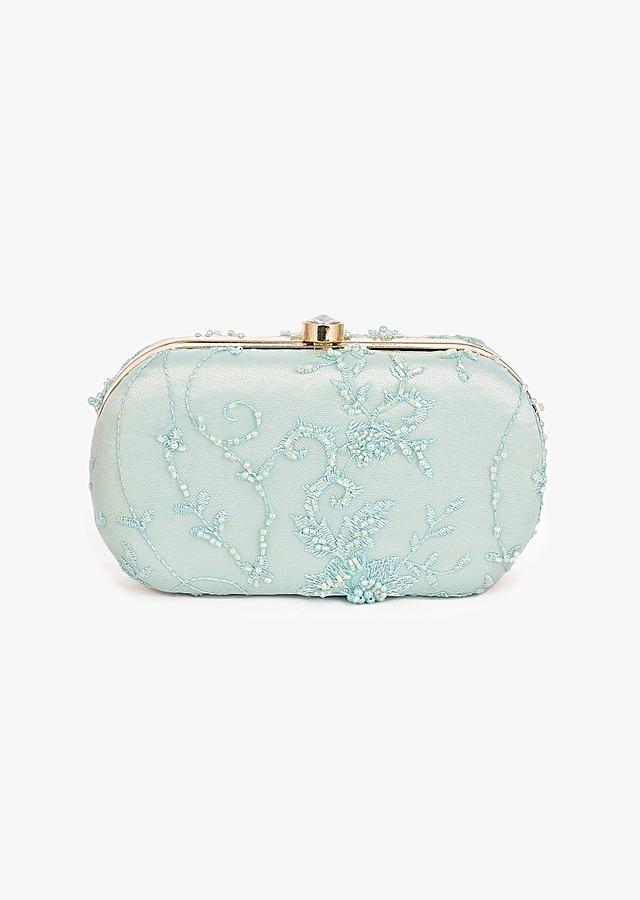 Mint Oval Box Clutch In Embroidered Net With Cut Dana And Resham Embroidered Floral Motifs Placed In Abstract Design Online - Kalki Fashion