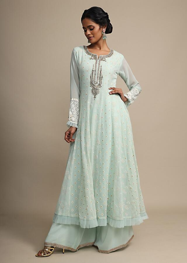Mint Palazzo Suit In Georgette With Embroidered Buttis And Zardozi Accents On The Neck Online - Kalki Fashion