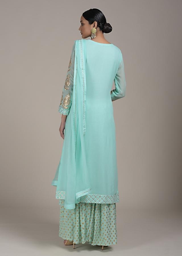 Mint Palazzo Suit In Georgette With Zari Embroidered Buttis And Gotta Work Online - Kalki Fashion