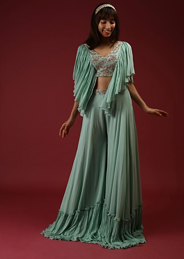 Mint Palazzo Suit With A Fancy Crop Top Featuring Elaborate Frill Sleeves And Multi Colored Hand Embroidered Floral Motifs Online - Kalki Fashion