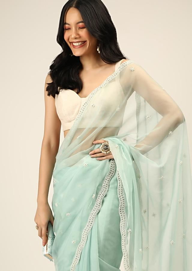 Mint Saree In Organza With Moti And Stones Embroidered Border And Butti Design Online - Kalki Fashion