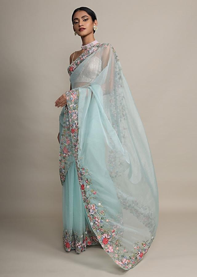Mint Saree In Organza With Resham Embroidered Floral Design On The Border Online - Kalki Fashion
