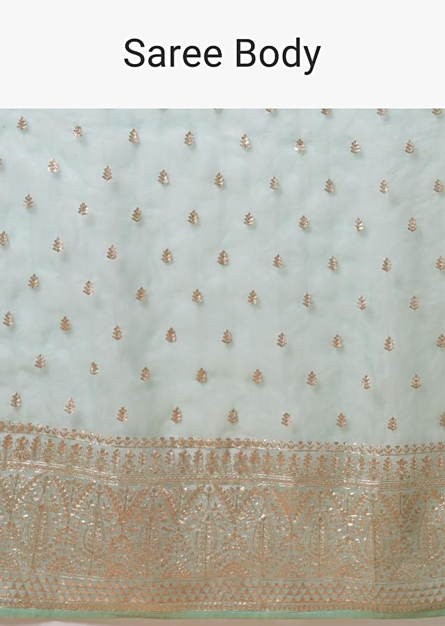 Mint Saree In Organza With Zari Cord Embroidery In Floral And Paisley Motifs Online - Kalki Fashion