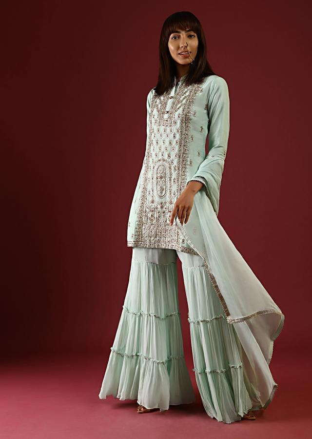 Mint Sharara Suit In Georgette With Gotta Patti And Thread Embroidered Centre Panel And Butti Design Online - Kalki Fashion
