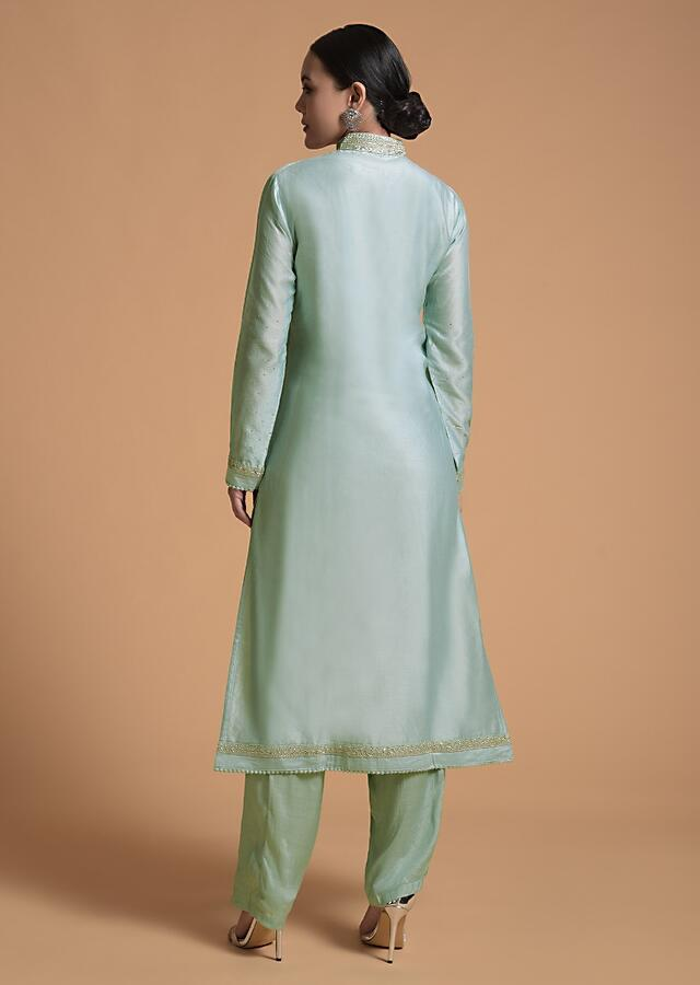 Mint Straight Cut Suit With Cord And Sequins Embroidered Moroccan And Floral Design On The Placket And Border Online - Kalki Fashion