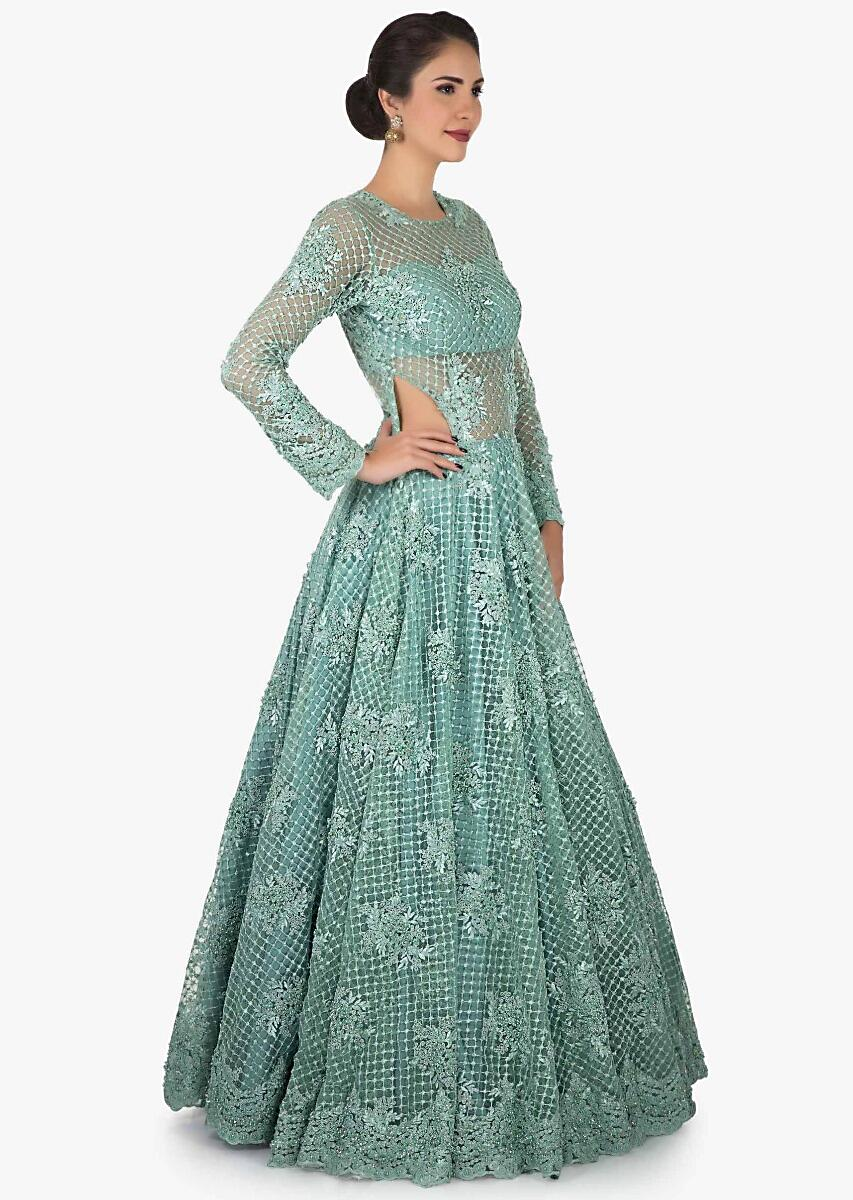 d54197962239 Mint Blue gown in net crafted heavily using the thread and moti embroidered  work only on KalkiMore Detail