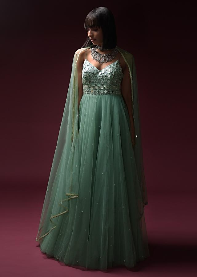 Mint Blue Indowestern Anarkali Suit In Net With Hand Embroidery Work Using Flower Cut Mirrors On The Bodice Online - Kalki Fashion