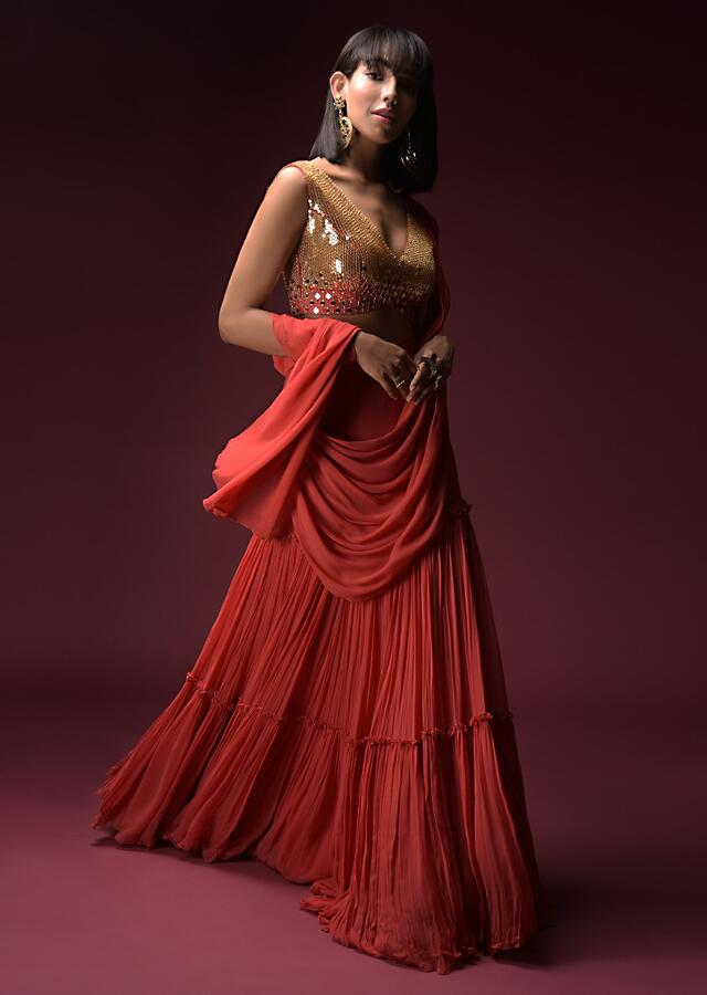 Coral Ready Pleated Saree With A Heavily Hand Embroidered Crop Top Adorned In Geometric Cut Mirrors Online - Kalki Fashion