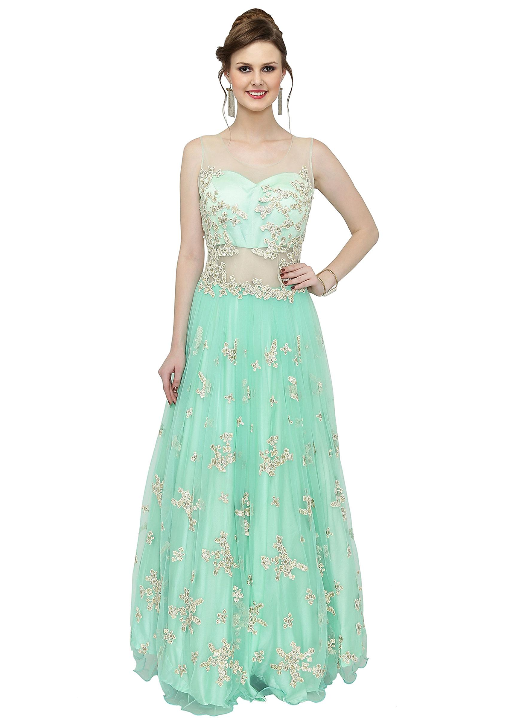 b88faf2845 Mint Blue Net Gown Featuring Thread Work and Sequins only on KalkiMore  Detail