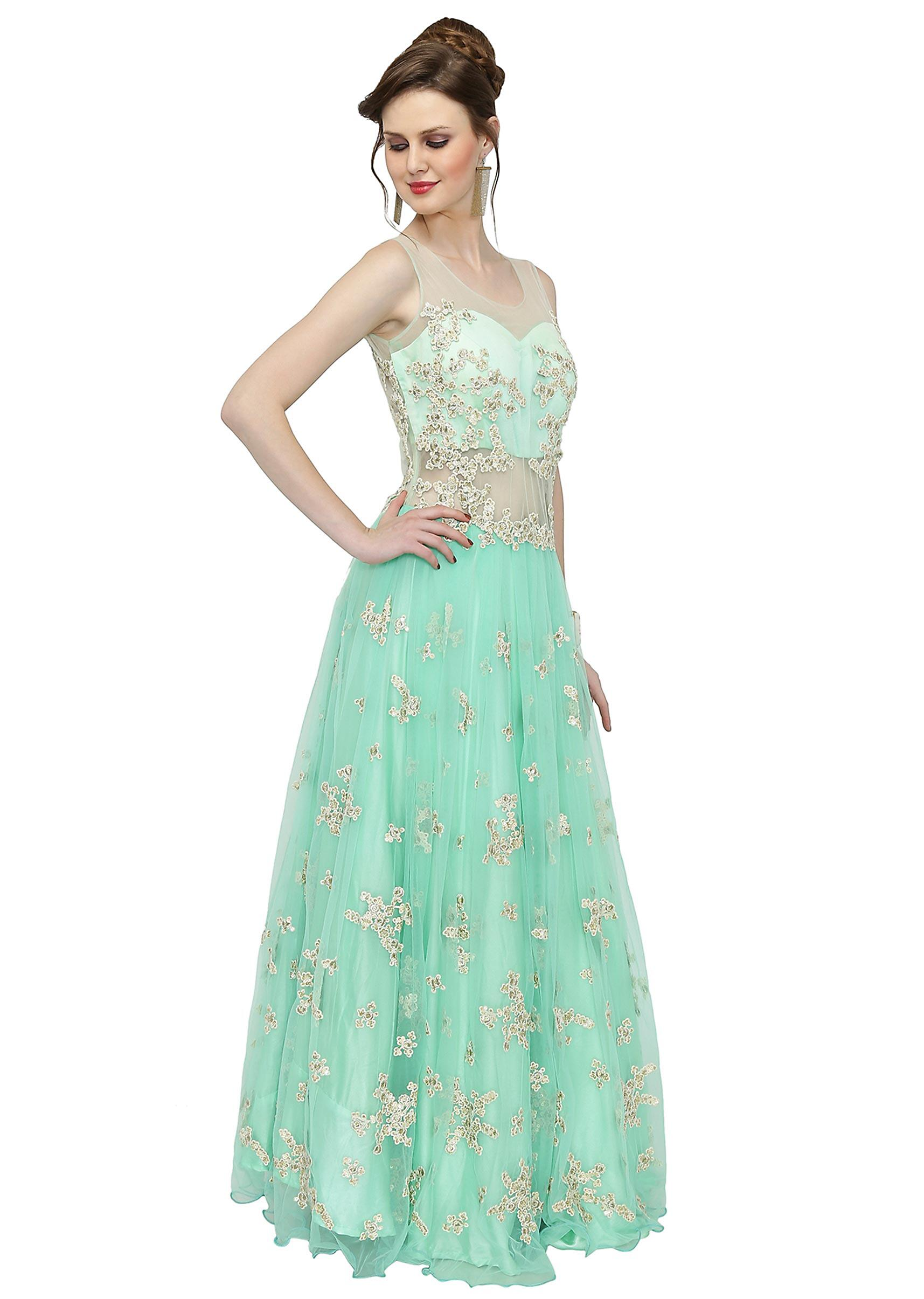 8eed72a684 Mint Blue Net Gown Featuring Thread Work and Sequins only on Kalki