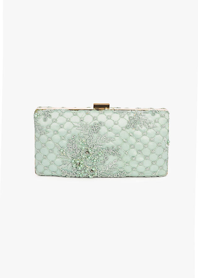 Mint Box Clutch In Embroidered Net With Cord And Moti Embroidered Mesh Design And Floral Motifs Placed In Abstract Pattern Online - Kalki Fashion