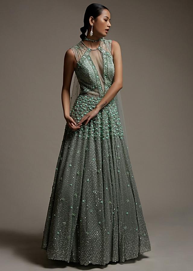 Mint Green Gown In Net With Sequins Work And Sheer Embellished Cut Outs On The Bodice Online - Kalki Fashion