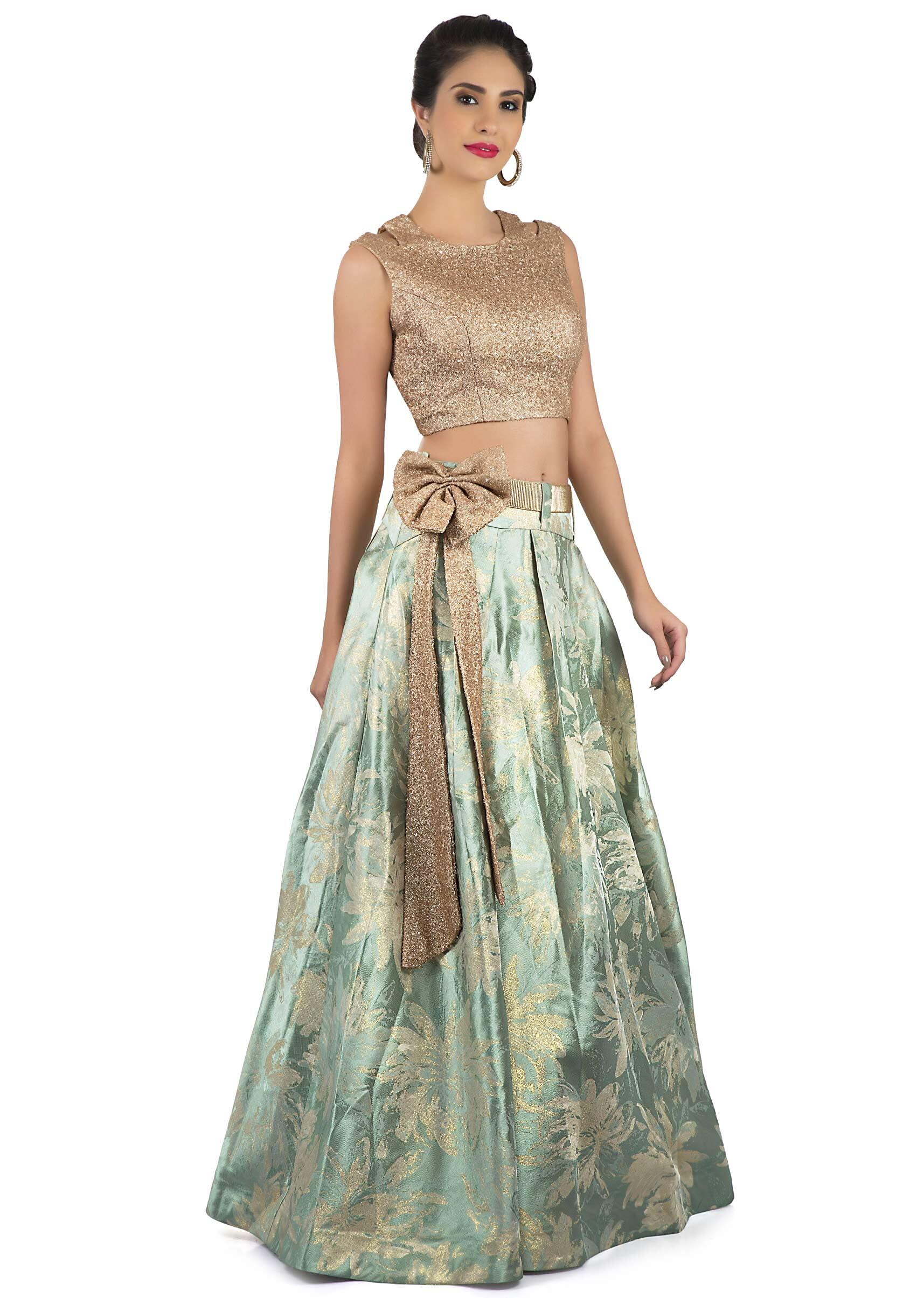 Mint green lehenga in brocade silk with sequin crop top blouse only on KalkiMore  Detail 365d8ad05