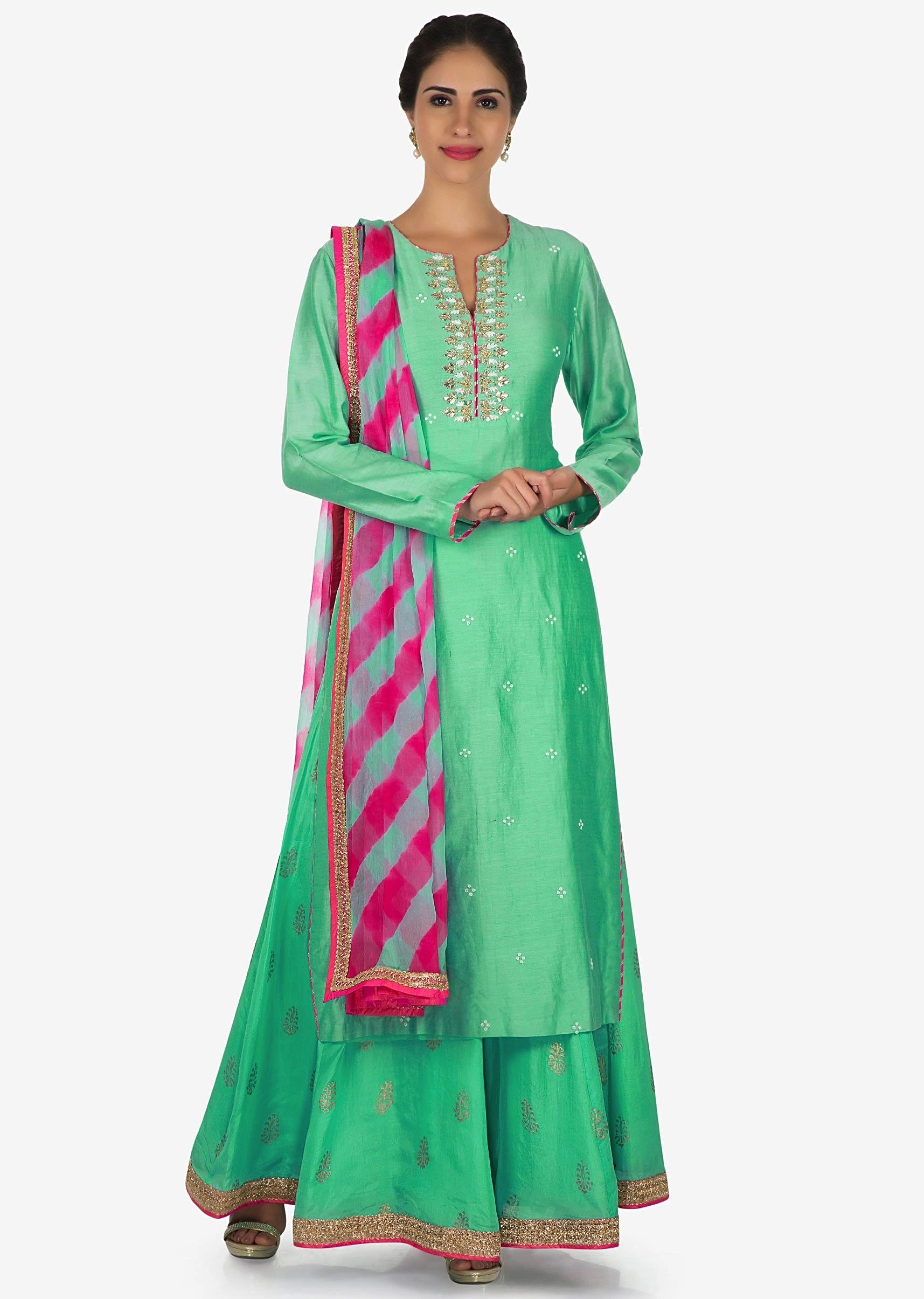 8b21a9dd2f Mint green palazzo suit in silk adorn with gota patti embroidery work only  on KalkiMore Detail