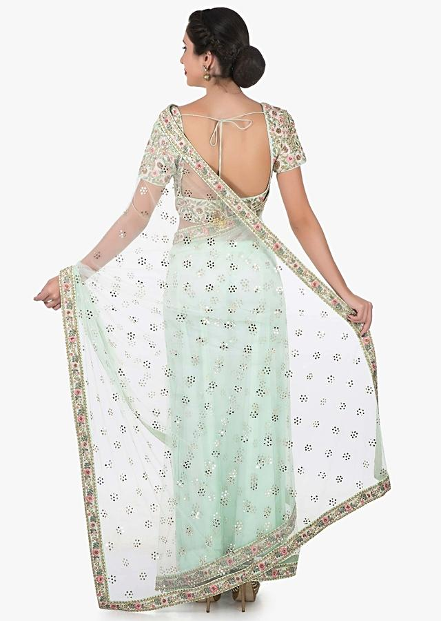 Mint Green Saree In Net Featuring The Able Embroidery Work Online - Kalki Fashion