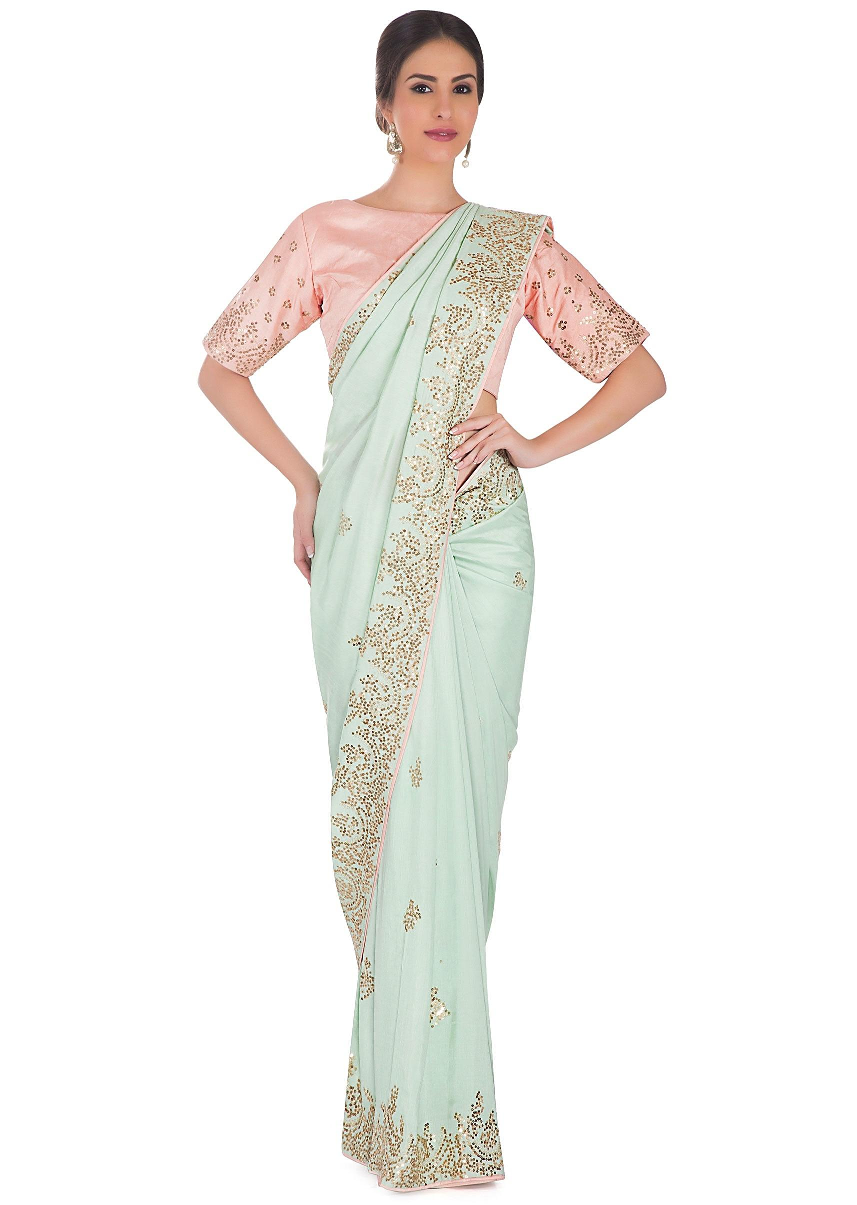 06a165e343e90 Mint Green Satin Saree and Pink Pre-Stitched Silk Blouse Adorned with Zari
