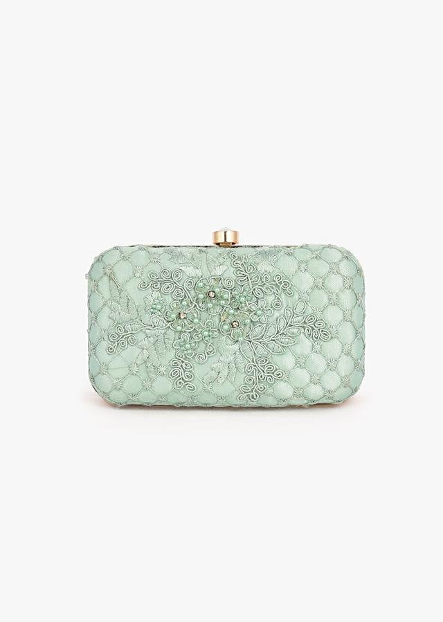 Mint Rounded Box Clutch In Embroidered Net With Cord And Moti Embroidered Mesh Design And Floral Motifs Placed In Abstract Pattern Online - Kalki Fashion