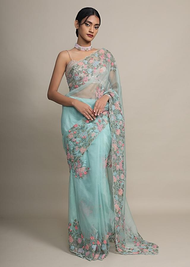 Mint Saree In Organza With Colorful Resham And Beads Embroidered Floral Design On The Border Online - Kalki Fashion