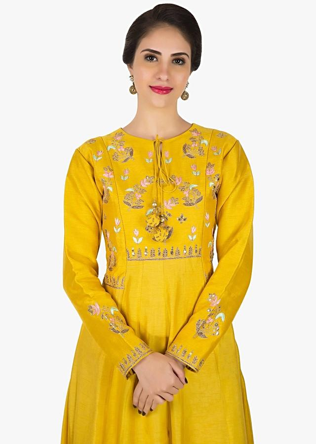 Yellow Anarkali Suit In Silk Embellished In Resham And Gota Patch Work Online - Kalki Fashion