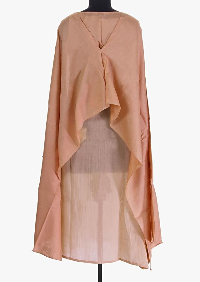 Mocha Ivory Kurti With A Fancy Top Layer Stitched From The Center Online - Kalki Fashion