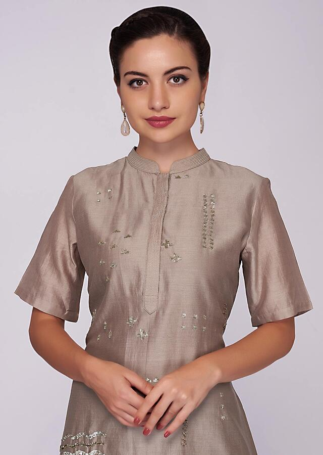 Monroe beige cotton kurti with front short and back long only on Kalki