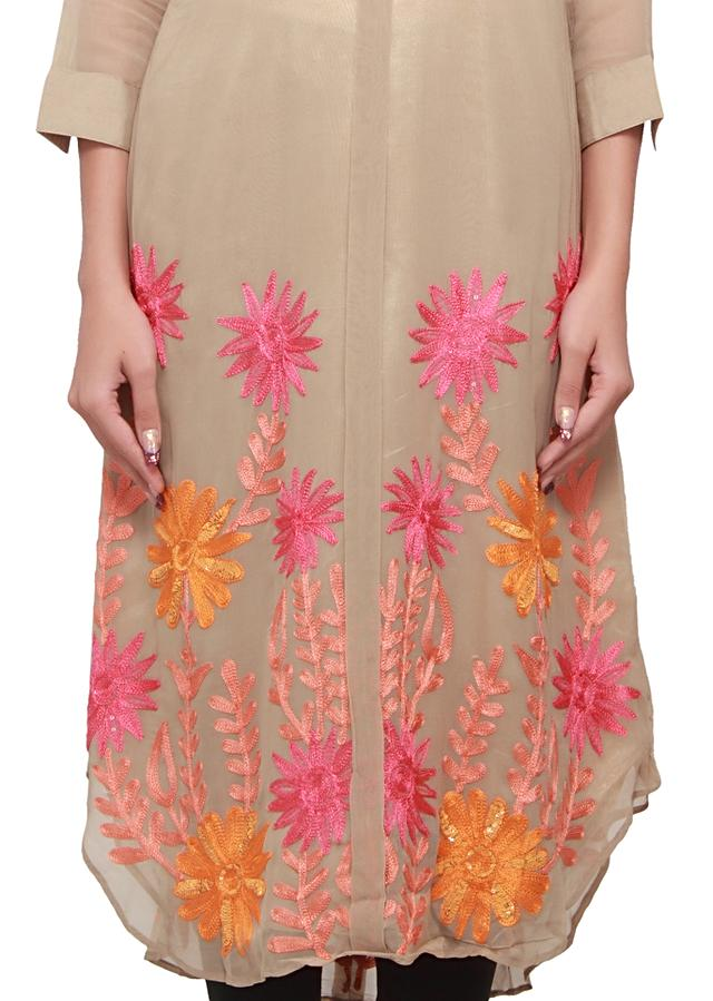 Moon light beige kurti embellished in thread and sequence only on kalki