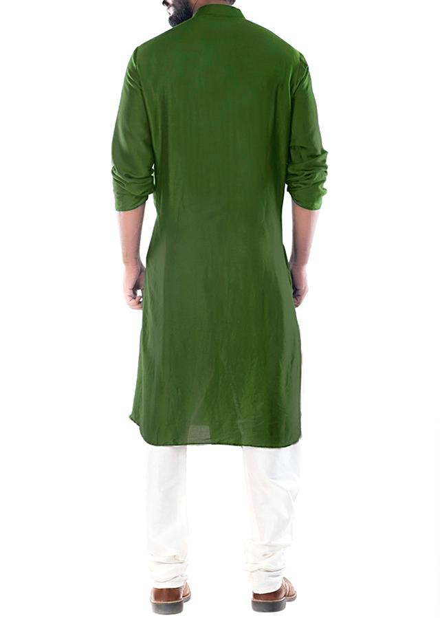 Moss Green Kurta With Cowl Drape And Churidar Pants Online - Kalki Fashion