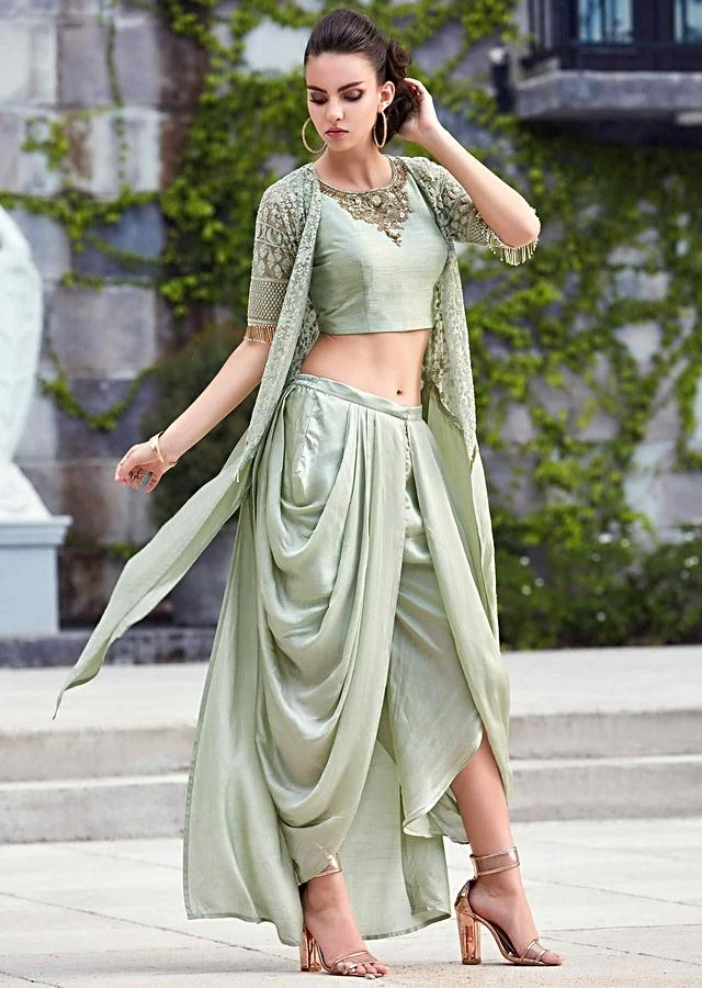 Laurel Green Crop Top In Raw Silk With Dhoti Pants And Long Embroidered Jacket Online - Kalki Fashion