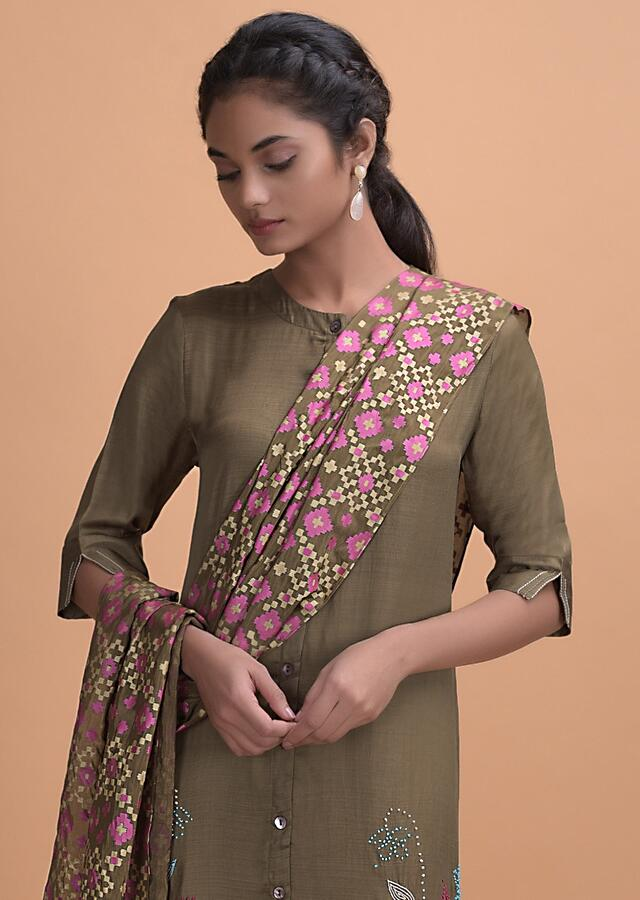 Moss Green Kurti In Crepe With Thread Embroidery And Patola Printed Dupatta Online - Kalki Fashion