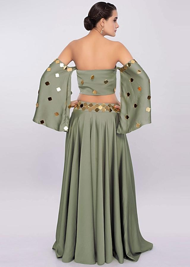 Moss Green Off Shoulder Crop Top With Flared Palazzo Online - Kalki Fashion