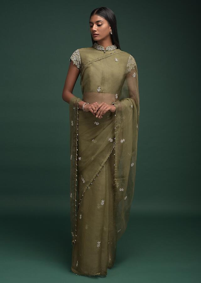 Moss Green Saree Organza With Zardozi And Sequins Embroidered Floral Buttis And Bead Tassels On The Border Online - Kalki Fashion