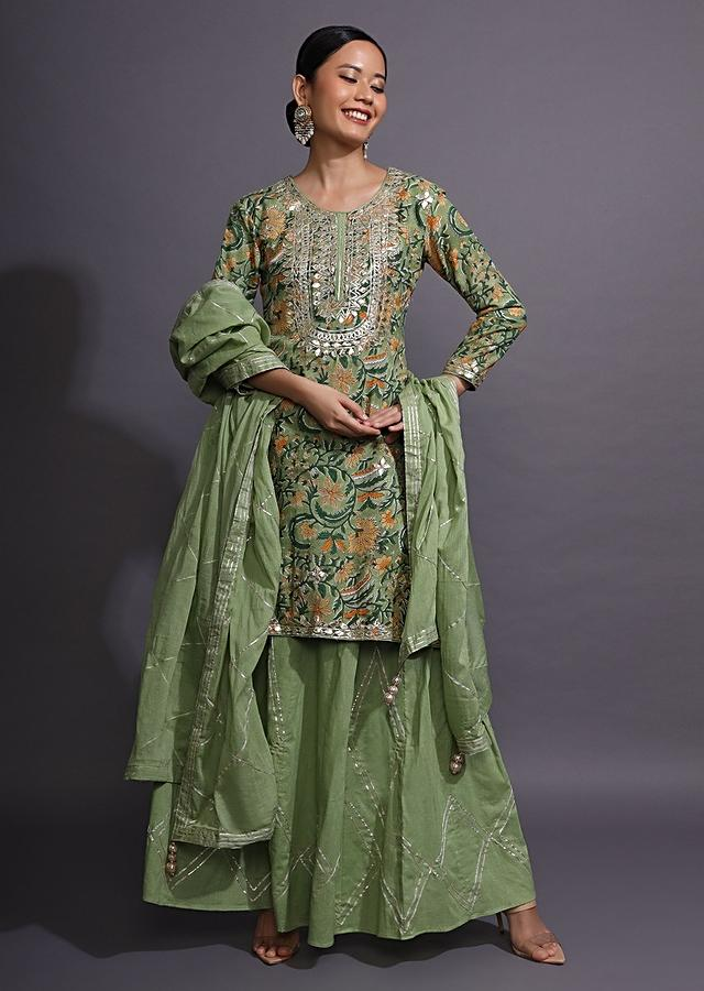 Moss Green Sharara Suit With Floral Print And Gotta Patti Embroidered Yoke Online - Kalki Fashion