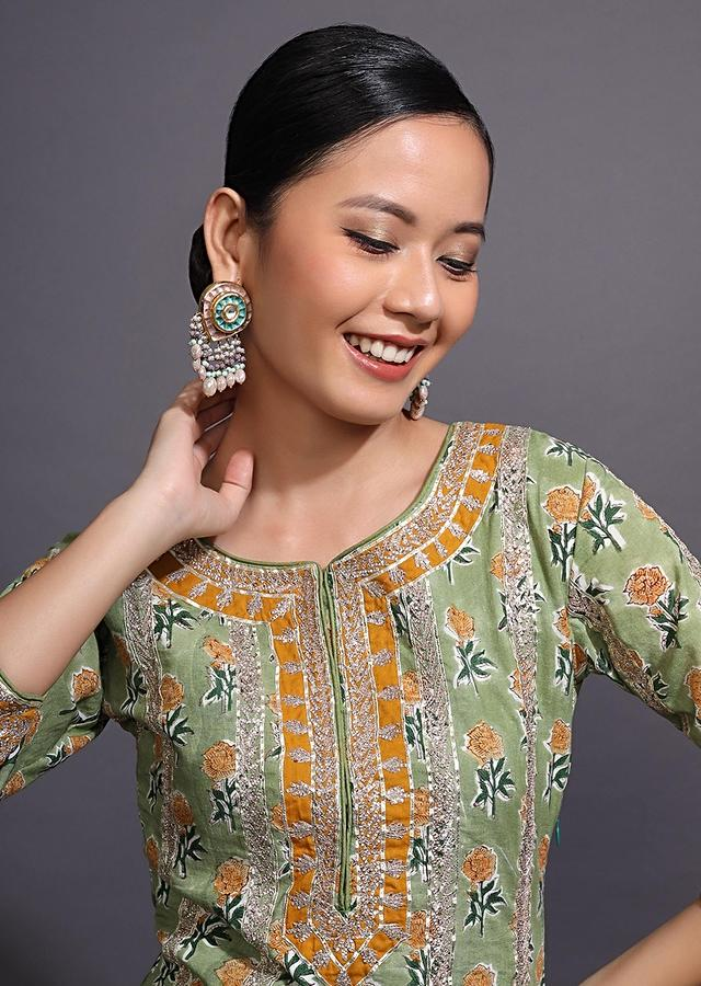 Moss Green Sharara Suit With Floral Printed Buttis And Gotta Patti Embroidery Online - Kalki Fashion
