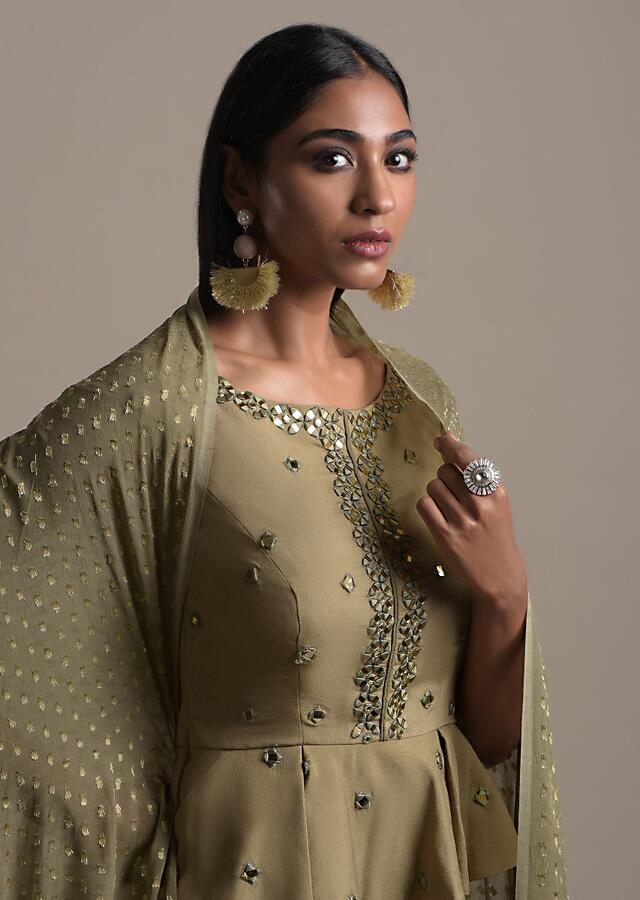 Moss Green Skirt And Peplum Top With Mirror Abla Embroidery And Zigzag Cut Hem Online - Kalki Fashion Online - Kalki Fashion